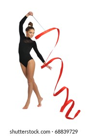 girl gymnast with red ribbon isolated on white background