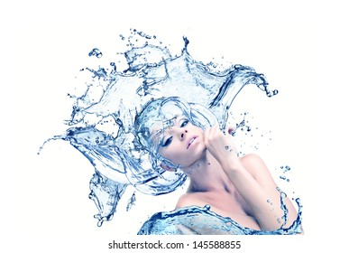 girl with the hair out of the water, cleanliness and freshness