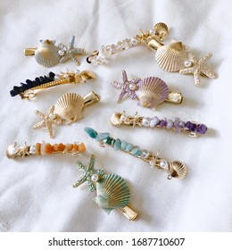 Girl hair pin Mermaid women hair clip shell starfishes pearl in gold color summer hair accessories headpiece hairpins holiday vacation style look book fashion stylish beach sea diy handcraft item
