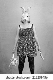 Girl in halloween rabbit mask, fear and terror