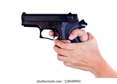 girl hand with gun