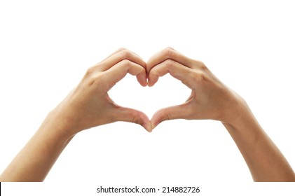 Girl hand in heart form love on white background.