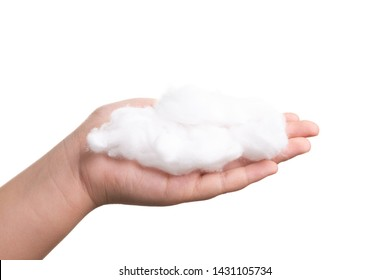 Girl hand hold used cotton wool isolate on white background