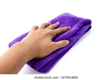 The girl hand holding microfiber fabric cleaning cloth on white background.