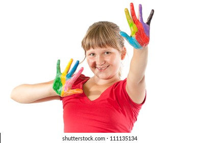 Girl with hands painted in colorful paints
