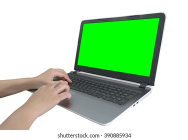 girl hands working on the laptop  isolated on white with clipping path
