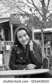 Girl happy in cafe table