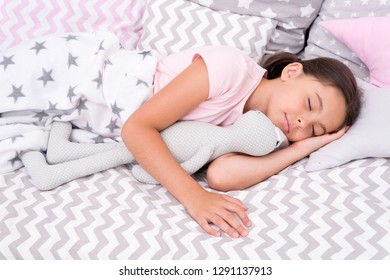Girl happy child lay bed pillow and blanket bedroom. Lullaby concept. Ways to fall asleep faster. Fall asleep as fast as possible. Fall asleep faster and sleep better. Healthy sleep. Sweet dreams.