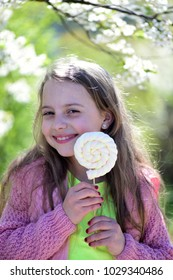 Girl with happy smiling face on nature background, defocused. Schoolgirl walks outside near blooming trees. Childhood, sweets and natural beauty concept. Kid in pink sweater holds white lollipop.