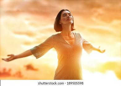 the girl is happy summer sun