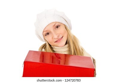 girl in a hat with a gift