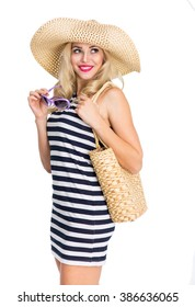 Girl in a hat with a wide brim
