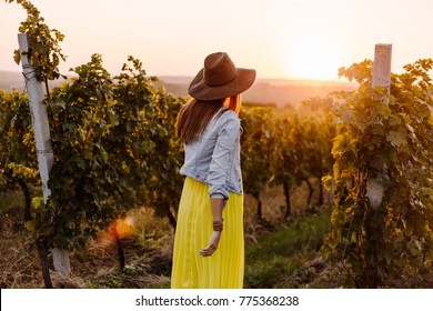 Girl with a hat and yellow dress  walking in autumn sunset playing with grapewines