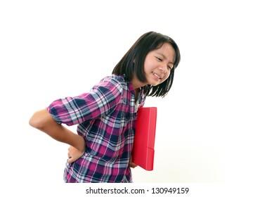 Girl  having back pain.