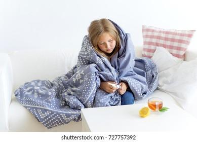 Girl having flu
