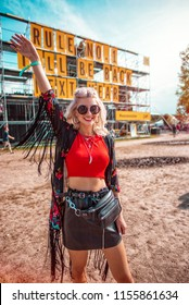Girl having fun at music festival