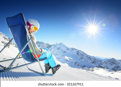 Girl having fun in ski resort