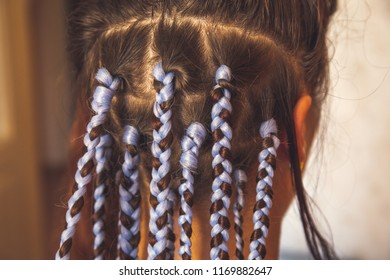 Girl head with braids from kanekalon material, creative hairstyle with thick plaits or pigtails also known as African or Afro braids, close up