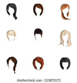 Girl head colored hair style silhouette icons set isolated  illustration