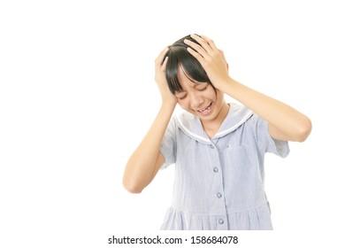 A girl with headache