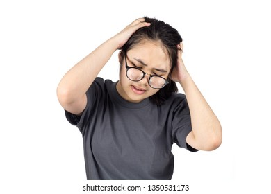 girl headache her problem hands holding head