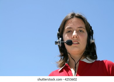girl with headphones (call center)