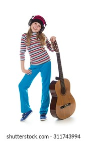 The girl in headphones with a guitar on a white background.