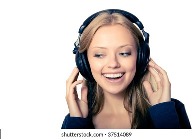 girl in headphones listening music