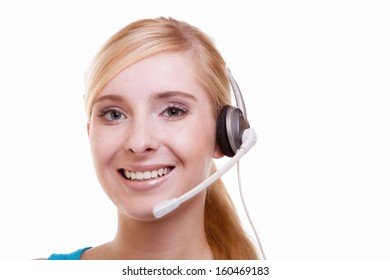 Girl with headphones microphone. Customer service representative headset woman talking giving online help desk support friendly happy and smiling isolated on white