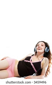 girl in headphones on a white background