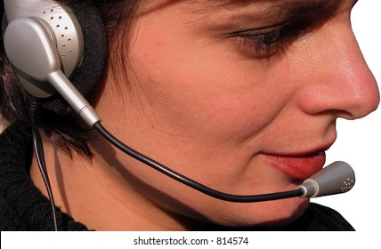 Girl with headset close-up