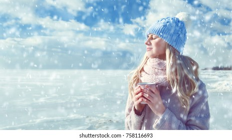 girl heated hot drink
