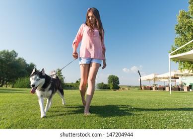 girl and her faithful husky