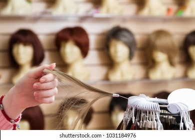 girl in her hand chooses a hair color wig of a natural blond. A palette of hues of hair color in a store of wigs on a blurry background of shelves with maniena