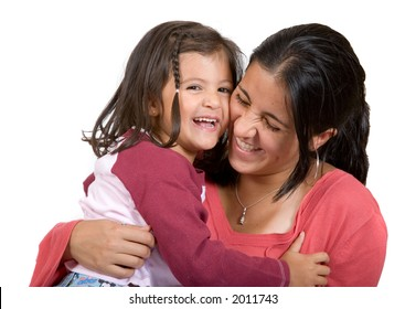 girl with her mum having a laugh over a white background