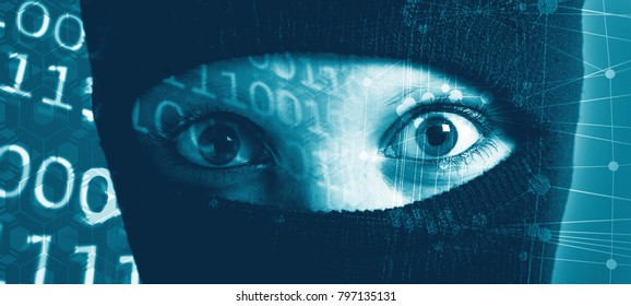 The girl hides her face under the mask. The man is a criminal. Hacker in a mask. The anonymity of the Internet.