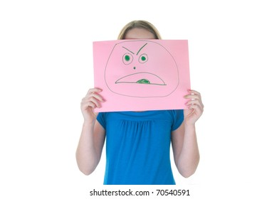 girl hiding behind angry face, part of emotional series