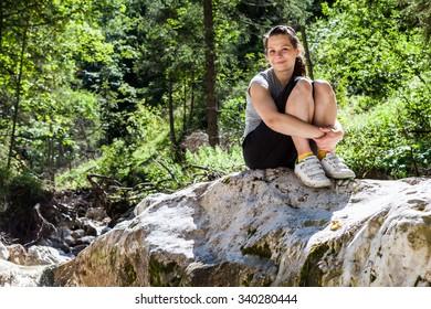 Girl hiking in Berchtesgaden, Germany