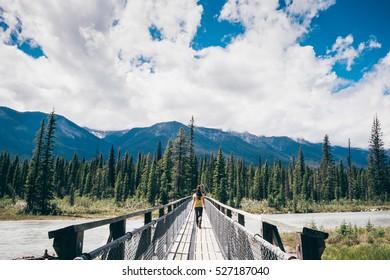 Girl hiking at Kootenay national park, Canada