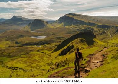Girl hiking in the Quiraing,Quiraing,Isle of Skye,Scotland,Great Britain,Europe