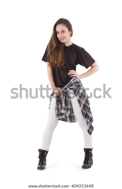 low priced 51a84 22f67 Girl Hip Hop Wear Street Style Stock Photo (Edit Now) 604253648