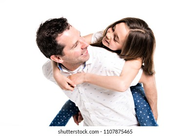 girl with his father, isolated on white background