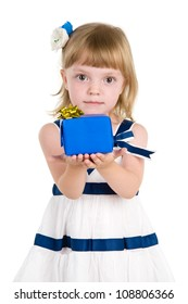 girl hold gift box in hands. Isolated over white background.