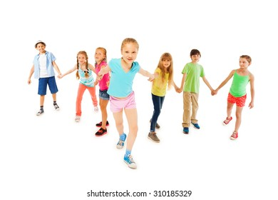 Girl hold hands with many friends and pull forward