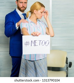Girl hold poster hashtag me too while colleague calm down her. Worker share assault story. Looking for support. Discrimination assault complaint. Female assault statistic. Victim assault at workplace.