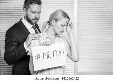 Girl hold poster hashtag me too while colleague calm down her. Victim assault at workplace. Worker share assault story. Looking for support. Discrimination assault complaint. Female assault statistic.
