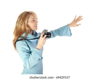 Girl holding analog camera and gesture for photographing