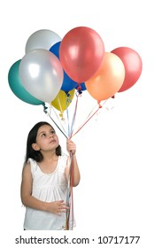 girl holding balloons isolated