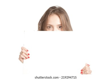 Girl holding a blank, isolated