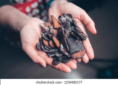 Girl holding burned gingerbread cookies